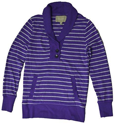 - Banana Republic Women's 2-Button Shawl-Neck Long Sleeve Shirt (Medium, Blue/Grey Stripe)