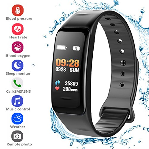 Fitness Tracker HR, Activity Tracker Smart Bracelet Wristband Sports Watch with Pedometer Heart Rate Monitor IP67 Waterproof Call SMS SNS Remind for Men Women Kids Compatible for Android and iOS