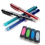 Delat Erasable Gel Ink Ballpoint Pen 0.5mm (4 Colors, 4 Colors Set & 4 Colors Eraser)