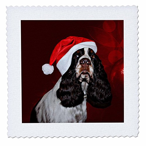 3dRose Sandy Mertens Christmas Animals - English Springer Spaniel Dog Wearing Santa Hat Red Ornament Background - 12x12 inch quilt square (qs_269523_4) by 3dRose