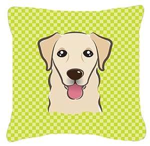 Caroline's Treasures BB1314PW1414 Checkerboard Lime Green Golden Retriever Canvas Pillow, Large, Multicolor