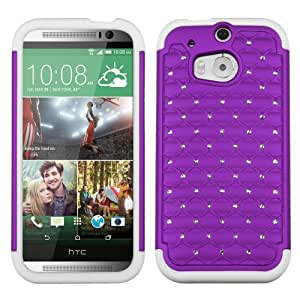 Hybrid Plastic Silicone Purple On White Spot Diamond Hard Cover Case For HTC One 2 M8 (Accessorys4Less)