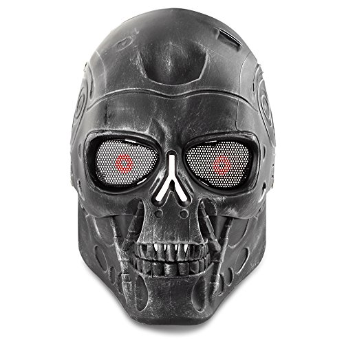 Flexzion Airsoft Paintball Mask Full Face Skull Skeleton Metal Mesh Eye BB Field Protection Safety Guard Cosplay Terminator T800 T2000 Machine Style for Outdoor Activity Hunting Wargame Cosplay