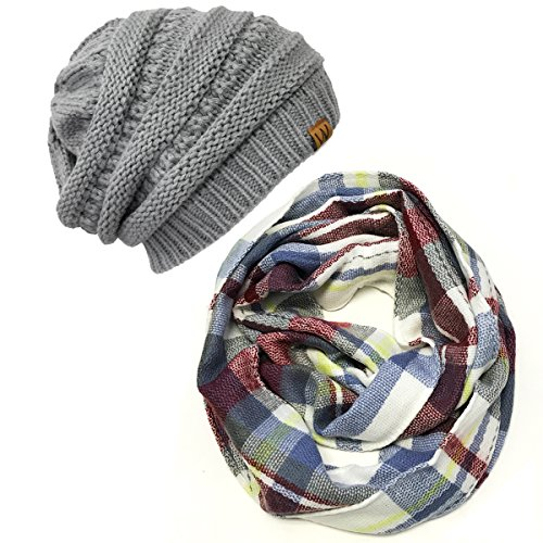 Allydrew Fashionable Plaid Winter Scarf Accessories, Infinity Scarf & Beanie Set, Gray/Wineand Gray Set,One Size