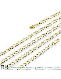 "14K Yellow Gold Diamond Cut 3.5mm Cuban Curb Chain Necklace 16"" 18"" 20"" 22"" 24"" 26"" 28"""