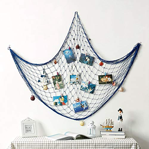(Coxeer Photo Hanging Display Net, Decorative Fish Net Picture Frames Multi Photos Organizer Collage Artworks with 30PCS Nails Clothespins Ornaments for Wall Photo Party)