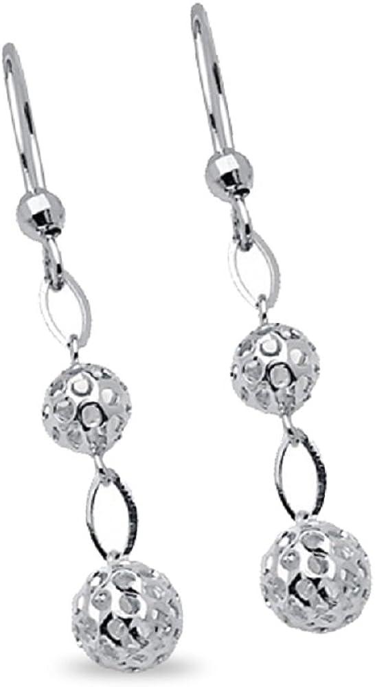 14K Yellow Gold Fancy Dangle Round Diamond Cut Ball Hanging Earrings