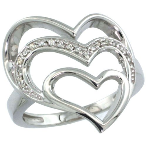 14k White Gold Triple Heart Cut Out Diamond Ring w/ 0.09 Carat Brilliant Cut ( H-I Color; VS2-SI1 Clarity ) Diamonds, 7/8 in. (22mm) wide, size 10