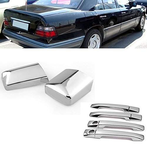 Chrome Side Door Handle + Rearview Mirror Cover Trims Set Fit for 1984-1995 Mercedes W124 300E E220 E320 E500 ()