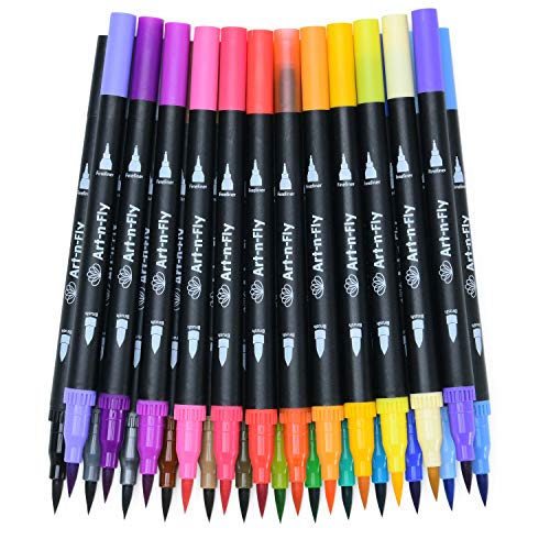 24 Dual Tip Color Fineliner Pens For Drawing Brush Tip and Colored Fine Tip pens