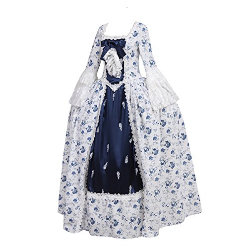 1791's lady Women's Victorian Rococo dress Inspration Maiden Costume NQ0032-XL - Victorian Gown Costumes