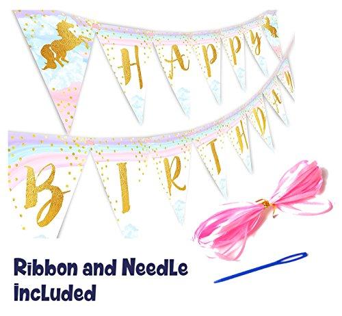 Magical Unicorn Happy Birthday Banner Pennant