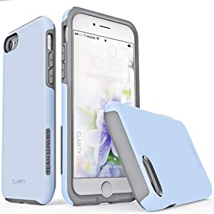 "TEAM LUXURY iPhone SE Case 2020, iPhone 8 Case, iPhone 7 Case [Clarity Series] Ultra Defender [Shock Absorbent] Protective Phone Case for Apple iPhone 8/7/SE 2nd Generation 4.7"" - Serenity Blue/Gray"