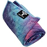 Yoga Mate Soft, Sweat Absorbent, Non-Slip Bikram Yoga Mat Size Towel, Blue & Pink Tie Dye | Blue Trim