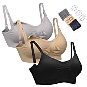 Women's Wireless Maternity Nursing Bra Adjustable 3PCS/Pack Silvery-Grey,Beige,Black L