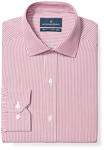 Buttoned Down Men's Tailored Fit Spread-Collar Pattern Non-Iron Dress Shirt, Burgundy Bengal Stripe, 19