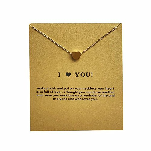 Spiritlele Heart Pendant Necklace Stainless Steel Gold Message Card Necklace for Women Girls