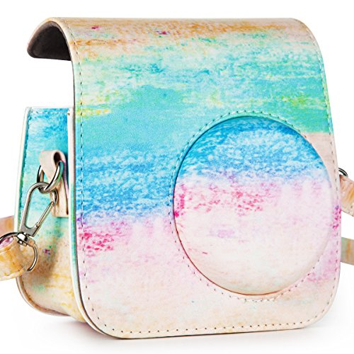CAIUL Compatible Comprehensive Protection Case for Fujifilm Instax MINI 7s and Polaroid PIC-300 Camera (Rainbow - Out You Mirror A Get Do Scratches How Of