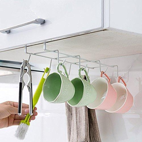 6 Hooks Cup Holder Hang Kitchen Cabinet Under Shelf: Generosum Kitchen Hanging Organizer Under Shelf For 8 Mug