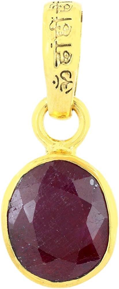 Skyjewels Certified 8.25 Ratti Manta Enegized Ruby Manik Astrological Pendant