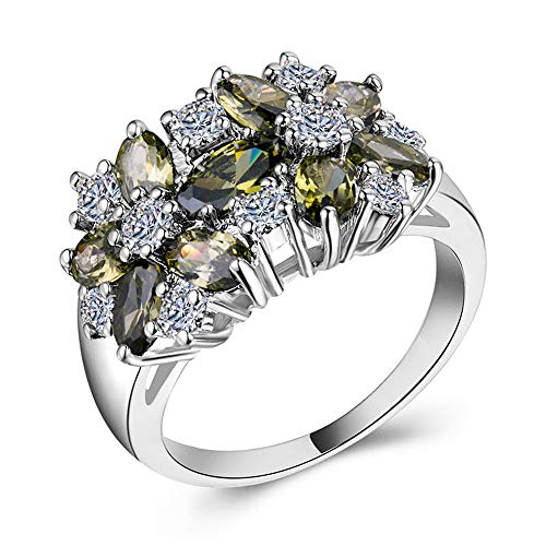 Huitan Halo Statement Ring with Blossom Design Four Colors to Choose Fashion Cocktail Party Rings for Women (Green, 10)