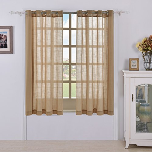 Best Dreamcity Faux Linen Sheer Curtains for Bedroom, Window Treatment Grommet Top Drapes, Set of 2 Panels, W52-Inch by L63 Inch, (Tailored Grommet Panel)