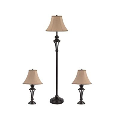 3 Pack Lamp Set (2 Table Lamps, 1 Floor Lamp), 3-Piece Vintage Style Table and Floor Lamp Set in Bronze Finish with Brown Fabric Lamp Shades, 26  and 61 (H), Solid Iron