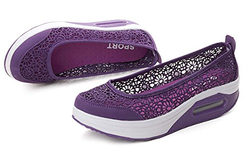 Purple Lace Women's Wedge On Soft Sole Floral Walking Mesh GFONE Shoes Platform Slip Air Loafers Fitness Summer Sneakers ETwdqnaxA
