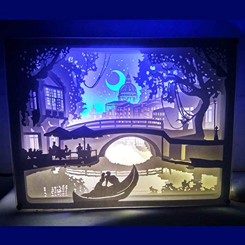 Box Lighted Shadow - BROSHAN 3D Shadow Box LED Night Light, Papercut Light Boxes, Decorative Night Lamp with Remote Control, Mood Light for Baby Nursery Kids Bedroom Living Room (Night of Venice)