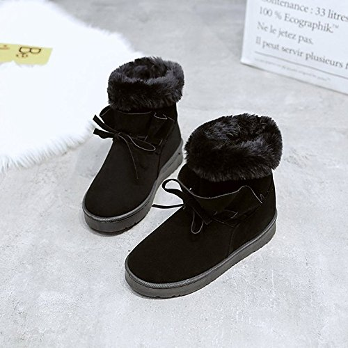 Fall Toe Round Bowknot Shoes Nubuck for Boots Calf ZHZNVX PU Winter Comfort Flat Fluff Lining leather Heel Casual Boots Boots HSXZ Mid Women's Black Snow Tqnxf0