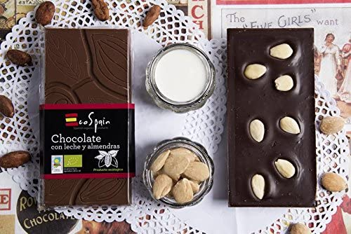 Chocolate ecológico con leche y almendras. 95 gr. Producto ...