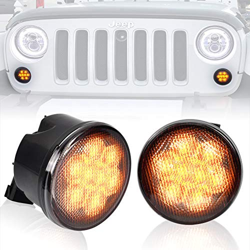 Liteway Amber Front LED Turn Signal Light Assembly for 2007~2016 Jeep Wrangler JK Turn Lamp Fender Flares Eyebrow Indicator Side Maker Parking Lights Bulb Smoke Lens, 2 Years Warranty