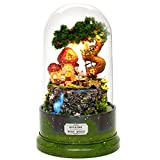 Rylai 3D Puzzles Wooden Handmade Miniature Dollhouse DIY Kit w/ Light-Garden Diary Series Rotate with Music Acrylic Dome Dollhouses Accessories Dolls Houses with Furniture & LED & Music Box Best Gift