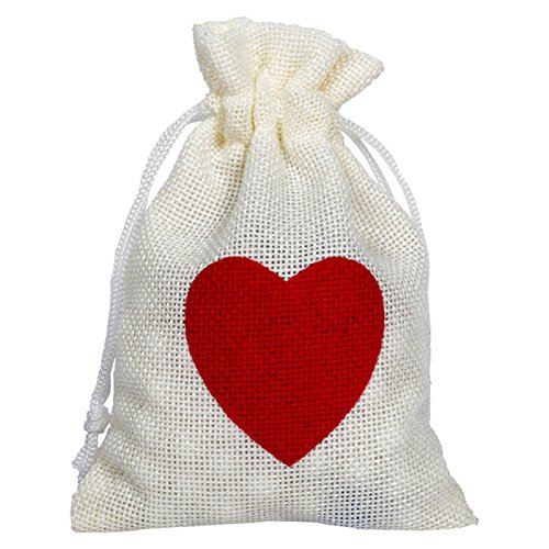 Tiffany Heart Bag (SODIAL(R) 12pcs Linen Pouches Heart Pattern Drawstring Bags Wedding/Gift/Jewelry/Favor Bag)