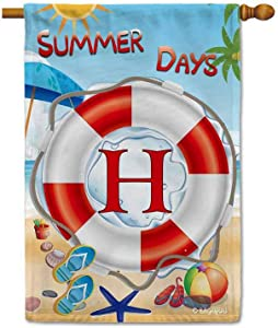 BAGEYOU Welcome Summer Day Lifebuoy Flip Flop Beach Decorative Garden Flag for Outside Monogram Initial Letter A Home Decor Banner