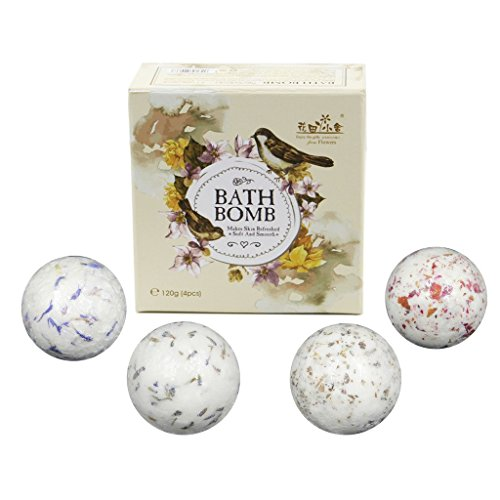 Youhome Fragrance Bath Salts Bombs with Essential Oil, 4 Different Flowers including Rose, Lavender, Oregano, Cornflower, Pampering and Relaxing Bath, 0.09 lb for Each