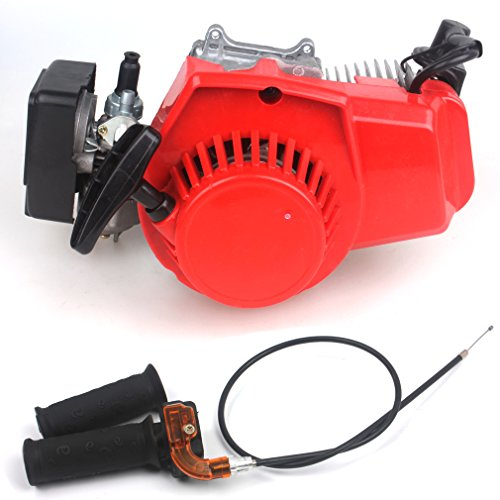 47CC 2-Stroke Engine + Handle Bar+ Throttle Cable Motor Pocket Mini Bike Scooter ATV 7T 25H Chain EASY TO Start 40MM Bore