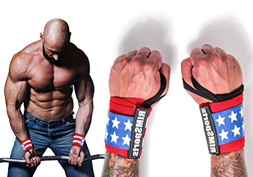 RIMSports American Flag Wrist Wraps Ideal Wrist Straps for Gym, Powerlifting, Bodybuilding - Premium Wrist Straps Weightlifting - Best Wrist Wrap for Lifting Weight Women & Men