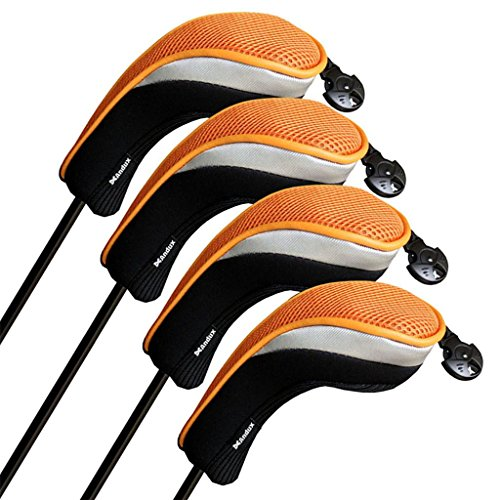 Andux Golf Hybrid Club Head Covers Set of 4 Black/orange Interchangeable No. Tag Mt/hy07 by Andux
