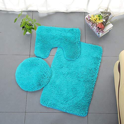 Rug Contour Square (Pgojuni Bathroom Set Rug Contour Mat Toilet Lid Cover Plain Solid Color Bathmats 3pc (D))