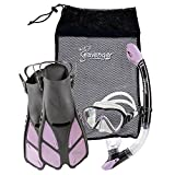 Seavenger Diving Dry Top Snorkel Set with Trek Fin, Single Lens Mask and Gear Bag, S/M - Size 4.5 to 8.5, Gray/Lavender