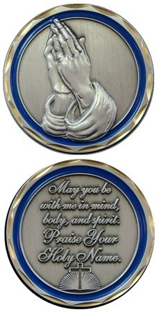 Jesus Christ Bible Religious Praying Hands Prayer - Good Luck Double Sided Collectible Challenge Pewter
