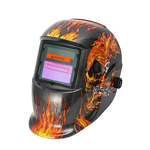 IEIK Solar Powered Welding Helmet Auto Darkening Hood with Adjustable Shade Range 4/9-13 for Mig Tig Arc Welder Mask (Shield Flaming Skull Design)]()