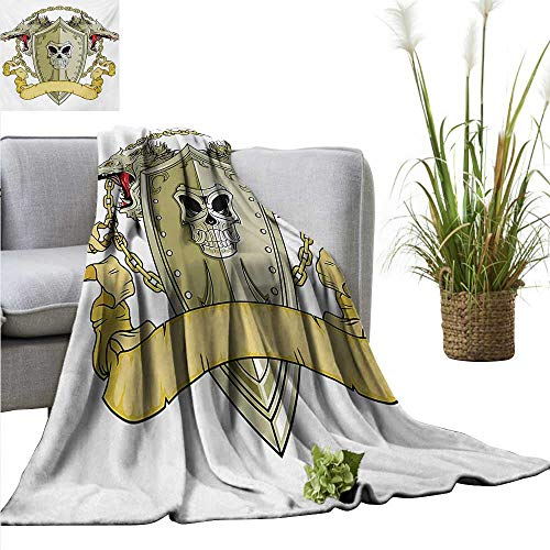 PrimoMol Weighted Blanket for Kids Dragon,Skull Figure on Knights Shield with Dragon Heads and Scroll Medieval Warrior Myth,Yellow White Weighted Blanket for Adults Kids Better Deeper Sleep 70