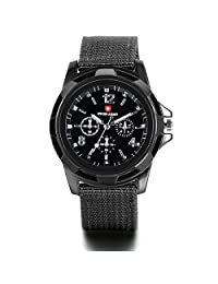JewelryWe Men's Black Dial Military Army Pilot Aviator Style Outdoor Sports Watch Fabric Canvas Strap Wrist watch 2016 New Year Valentine Day Gift