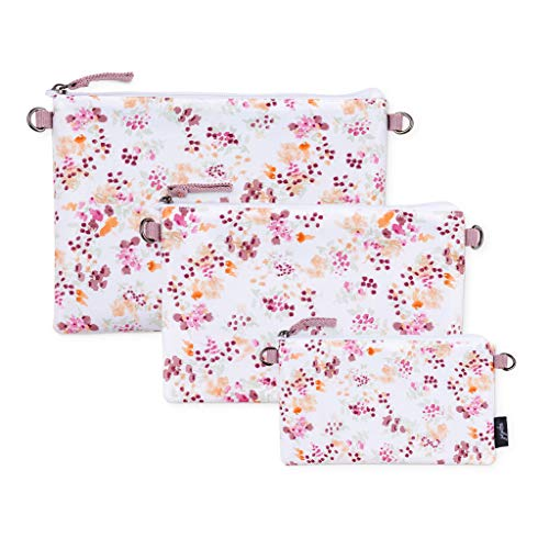 JuJuBe Dry Wet Bags   On The Go   Waterproof Reusable Bags, Organization for Diaper Bags, Baby Strollers   Machine Washable Travel Bags with Zipper Closure   3-in-1 Set   Petal Perfection