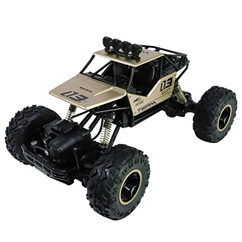 Remote Control Car,1:16 Scale Alloy 2.4Ghz Radio 4WD RC Truck,Off-Road Rock Toy RC Vehicle Crawler,Gold