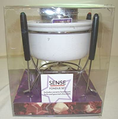 Sense Fondue Set Includes White Ceramic Pot Four Forks Tealight Candle and Gourmet Chocolate