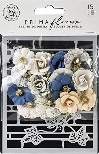 (Prima Marketing 636609 Georgia Blues Mulberry Paper Flowers 15/Pkg-Wilcox W/Stencil)