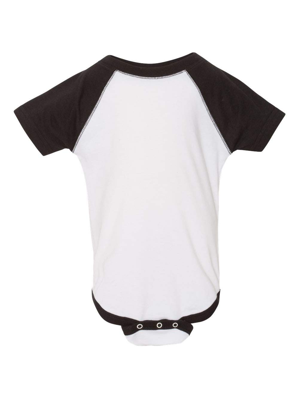 Rabbit Skins - Infant Baseball Fine Jersey Bodysuit - 4430 - NB - White Solid/Black
